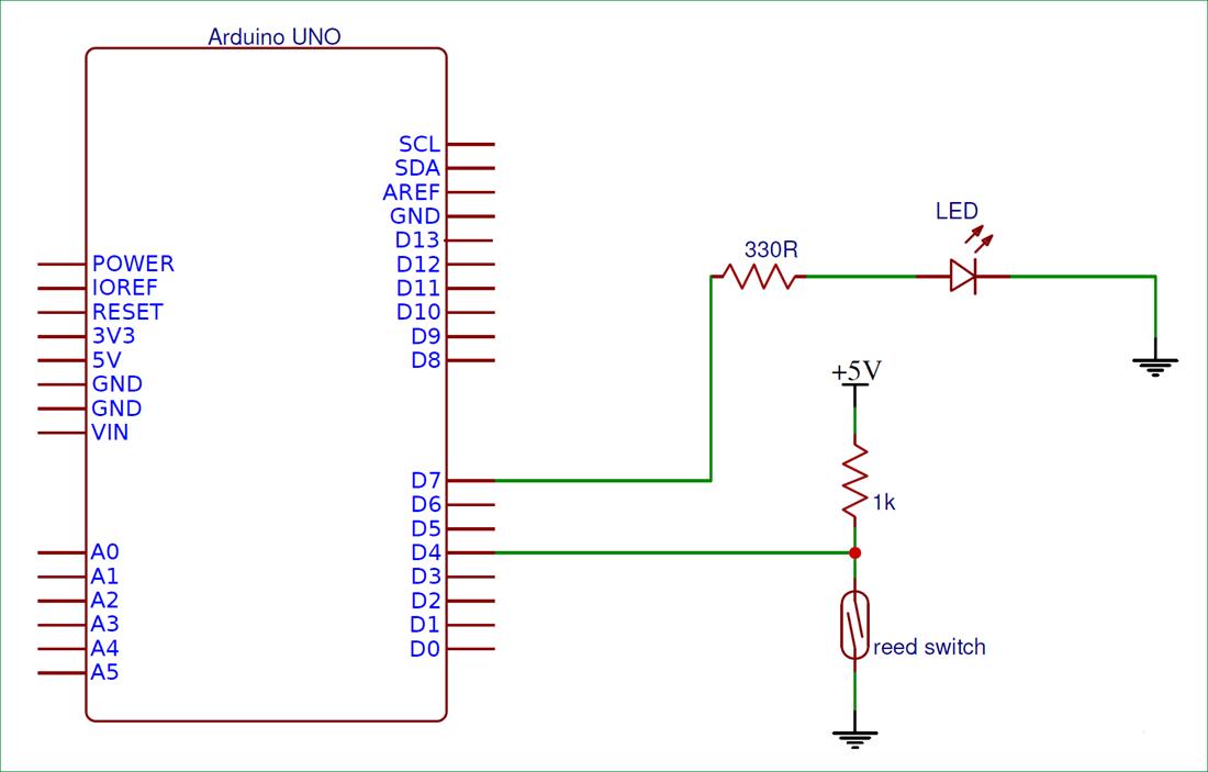 Схема подключения герконового реле к плате Arduino Uno