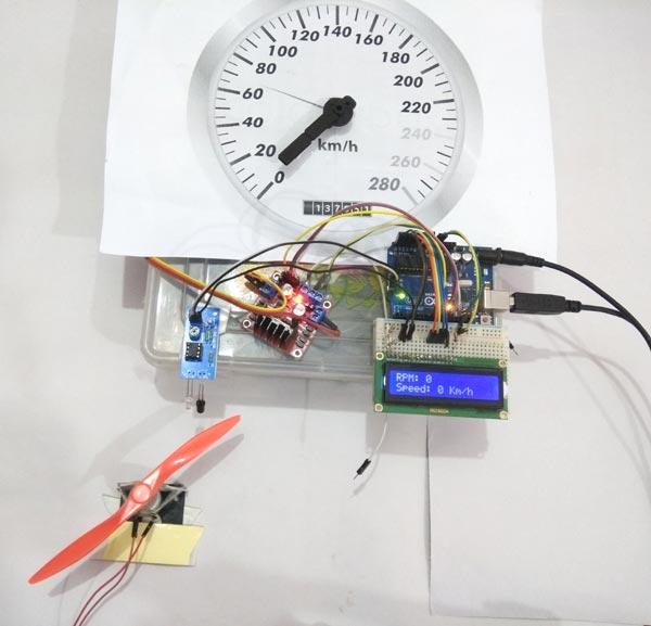 Внешний вид собранной конструкции для проекта аналогового спидометра