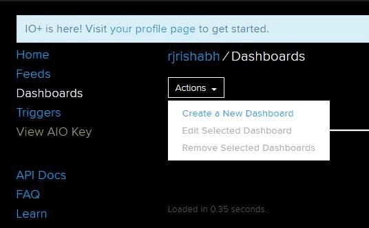 Создание новой приборной доски в сервисе AdaFruit IO