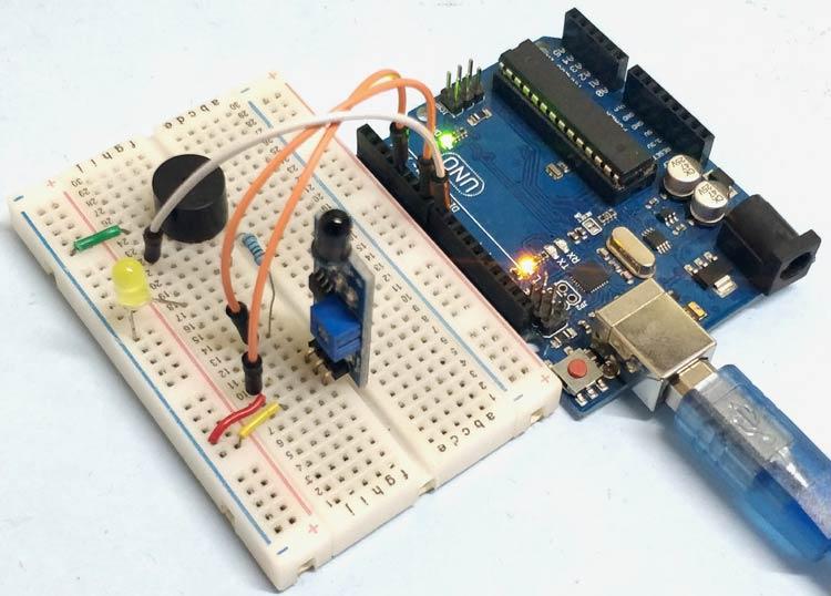 Внешний вид подключения датчика огня к Arduino Uno