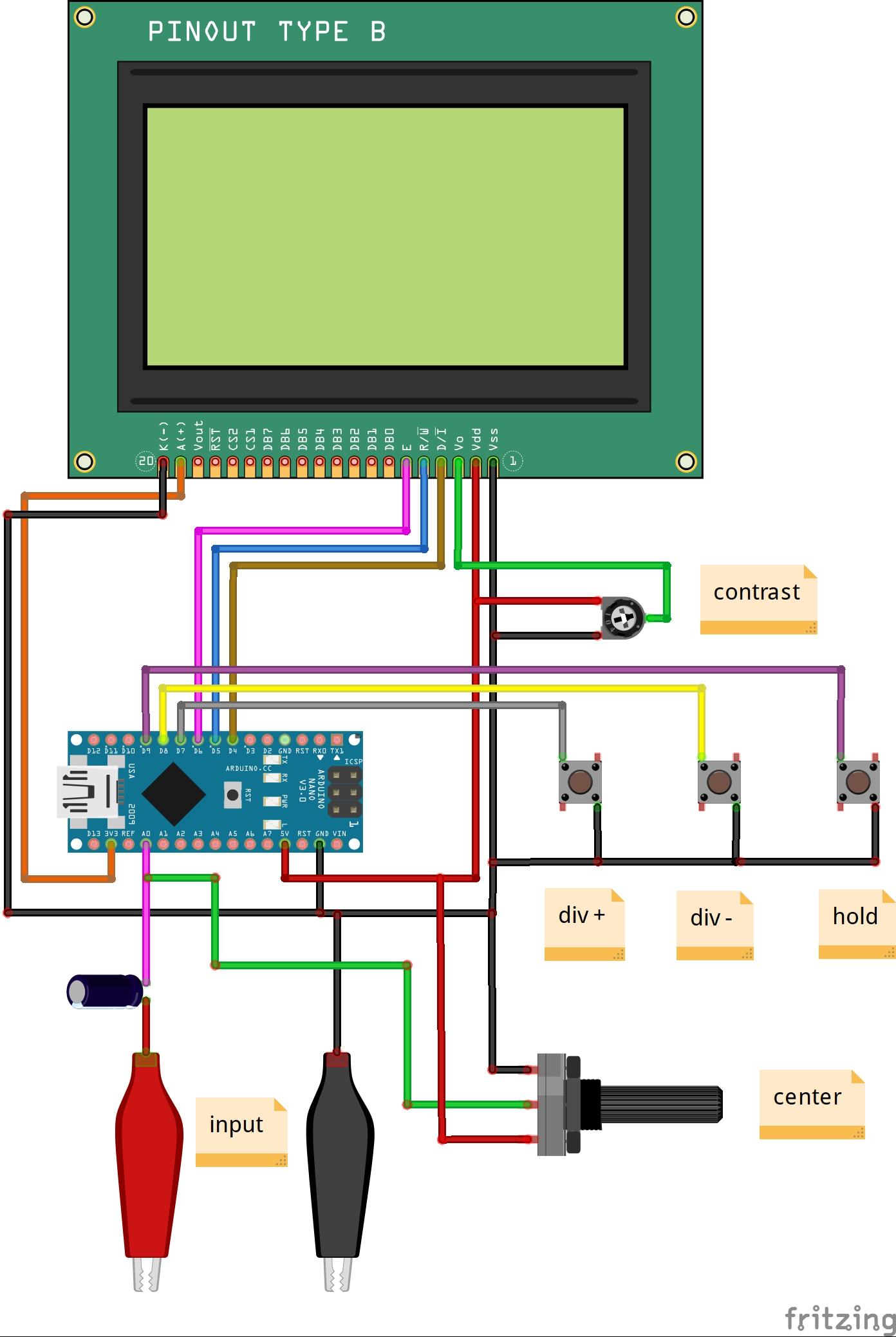 Схема осциллографа 10 Гц – 50 кГц на основе платы Arduino Nano и ЖК дисплея ST7920