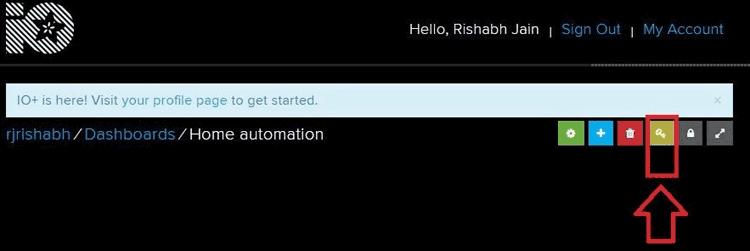 Кнопка для получения ключей в сервисе AdaFruit IO