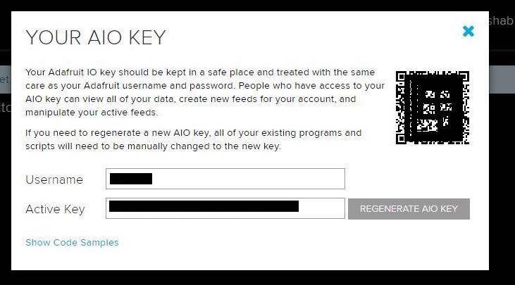 Форма с именем пользователя и паролем (ключем) в сервисе AdaFruit IO