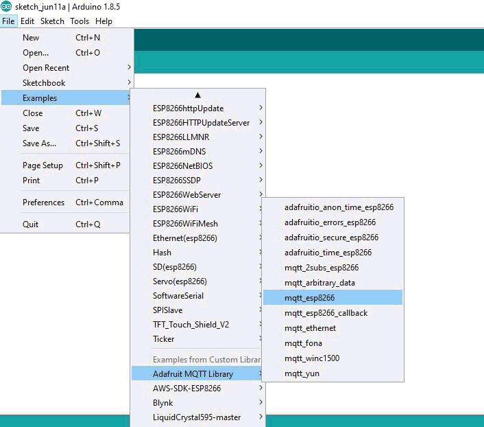 Открытие примера для работы с MQTT