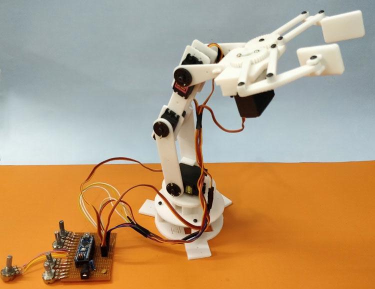 Внешний вид 3D роботизированной руки на Arduino
