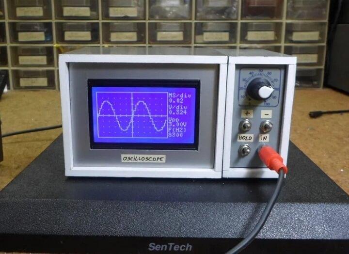 Внешний вид осциллографа 10 Гц – 50 кГц на Arduino Nano
