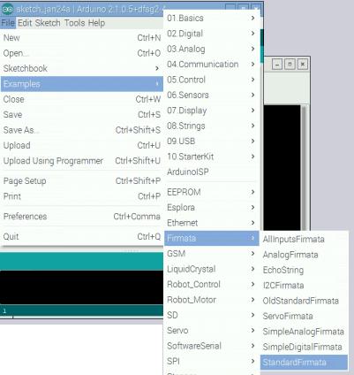 Выбор пункта меню для установки PyFirmata в Arduino IDE