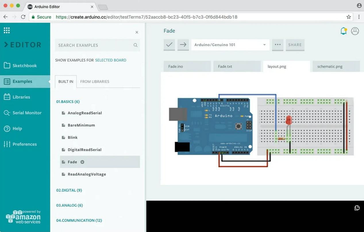 Открытый пример Fade sketch в Arduino Web Editor