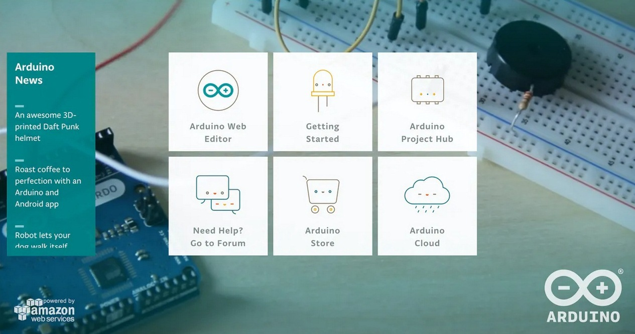 Внешний вид главной страницы проекта проекта Arduino Create