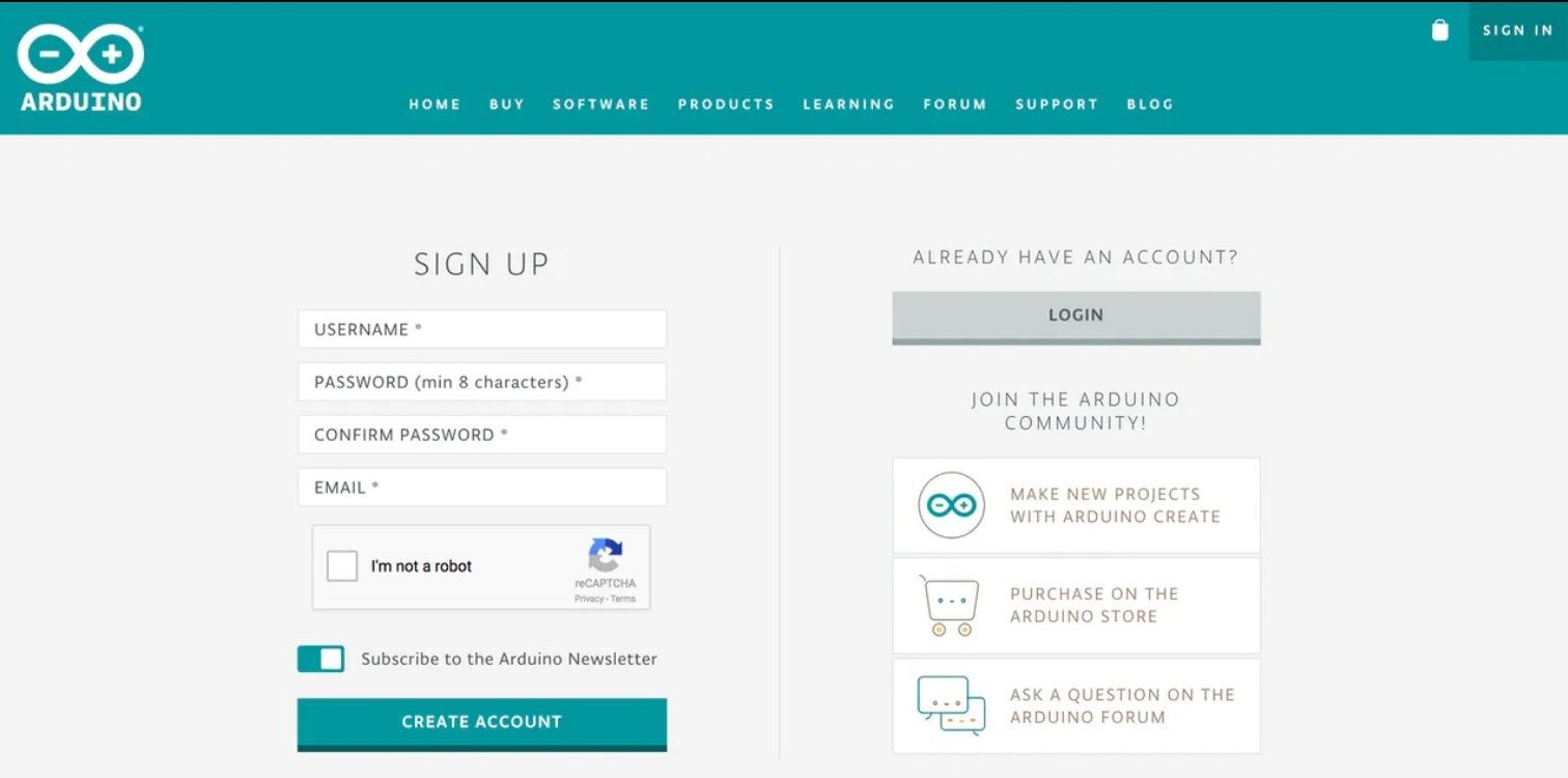 Страница регистрации в Arduino