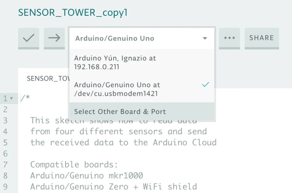 Выбор вида платы и порта в Arduino Web Editor