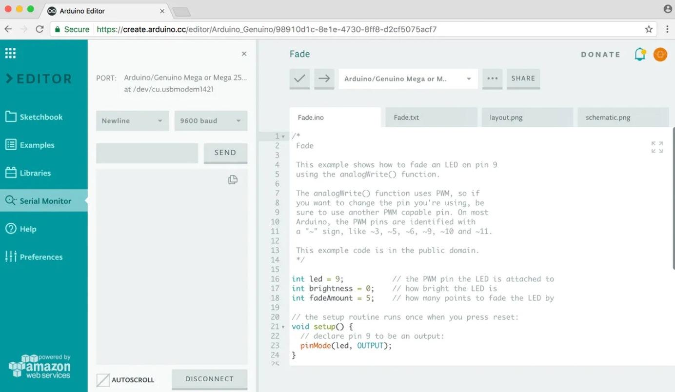 Выбор параметров монитора последовательного порта в Arduino Web Editor