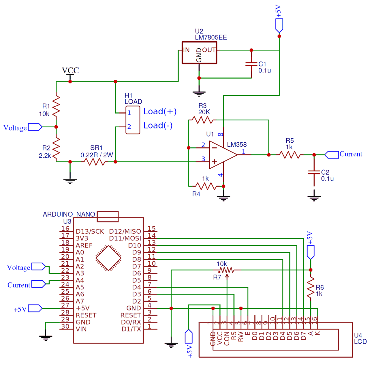 Схема ваттметра на основе платы Arduino