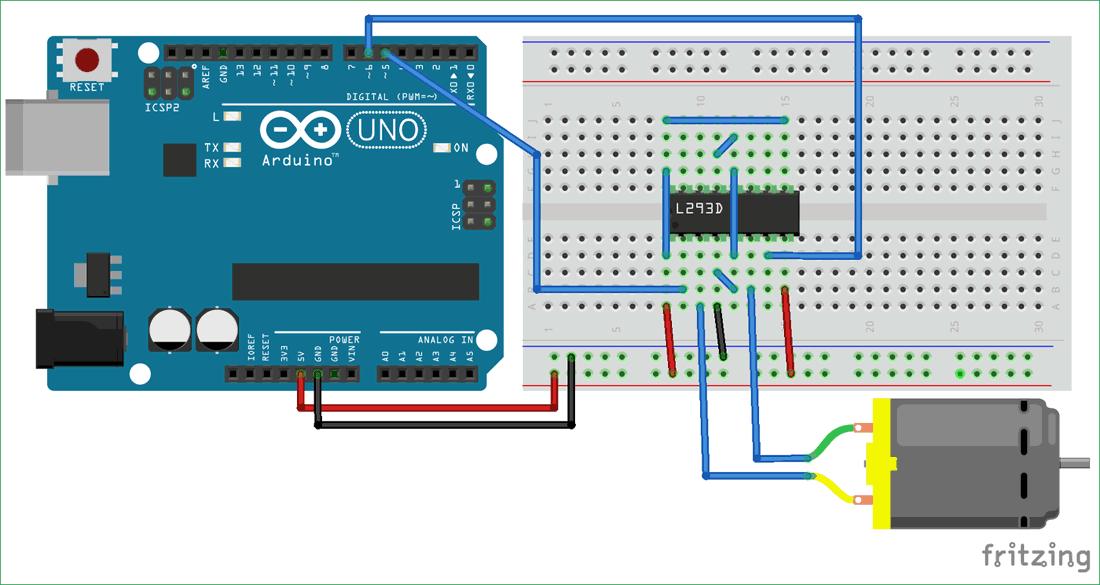 Схема проекта для управления электродвигателем постоянного тока с помощью MATLAB и Arduino