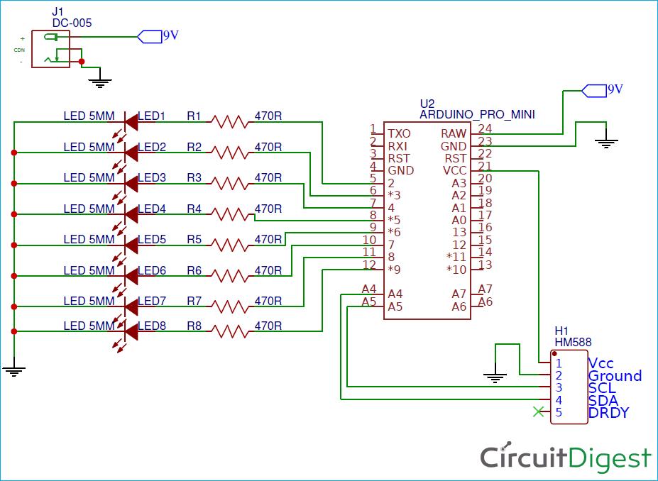 Схема цифрового компаса на основе платы Arduino и магнитометра HMC5883L