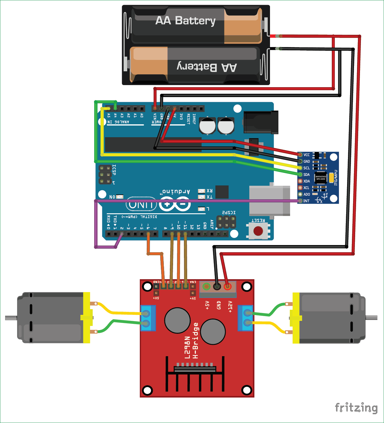 Схема самобалансирующегося робота на основе платы Arduino UNO