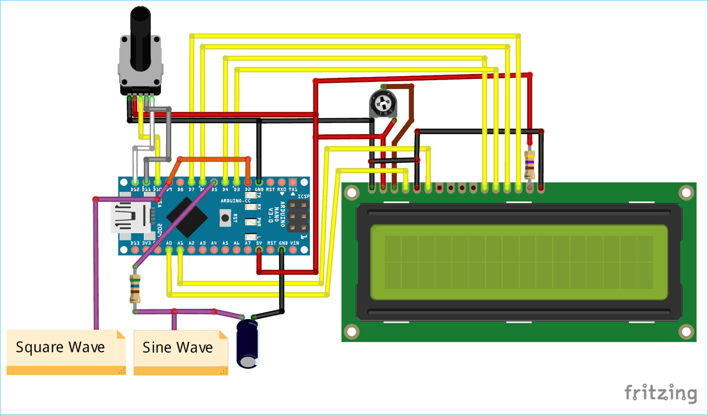 Схема генератора сигналов прямоугольной и синусоидальной формы на основе платы Arduino