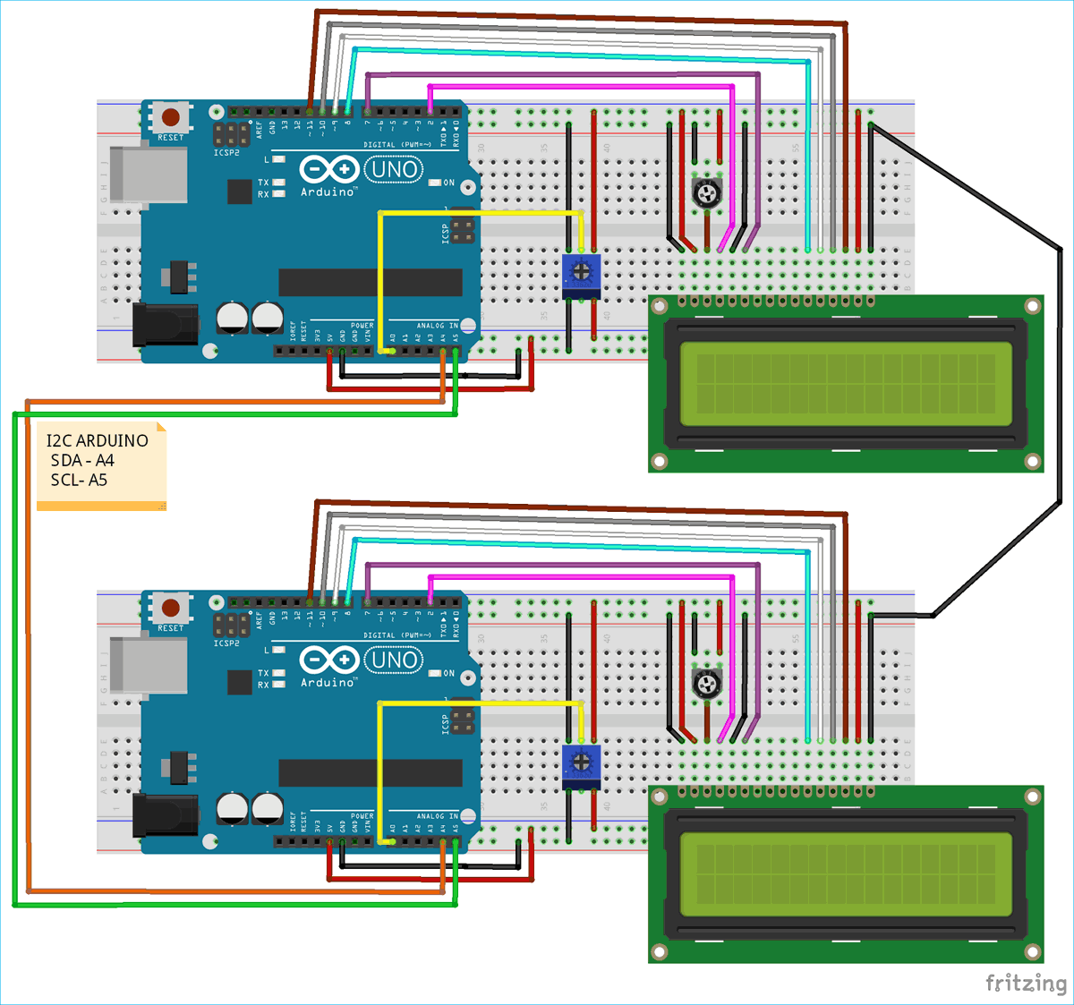 Схема проекта по применению интерфейса I2C в плате Arduino