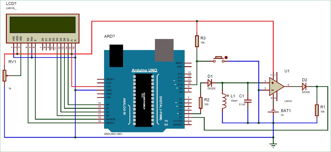Схема измерителя емкости и индуктивности на основе платы Arduino