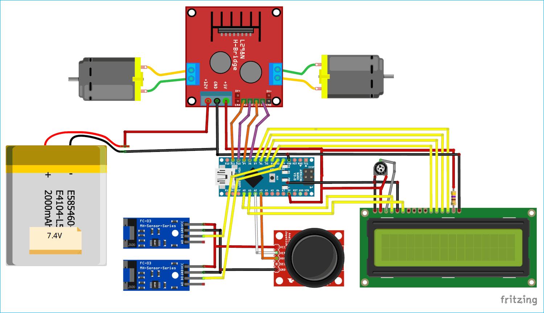 Схема робота на основе Arduino и датчика скорости LM393