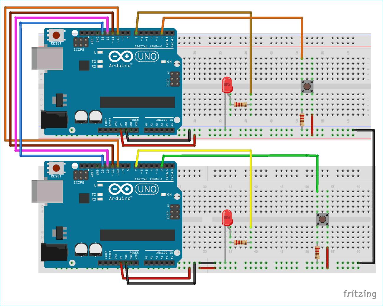 Схема проекта для последовательной связи между двумя платами Arduino по протоколу SPI