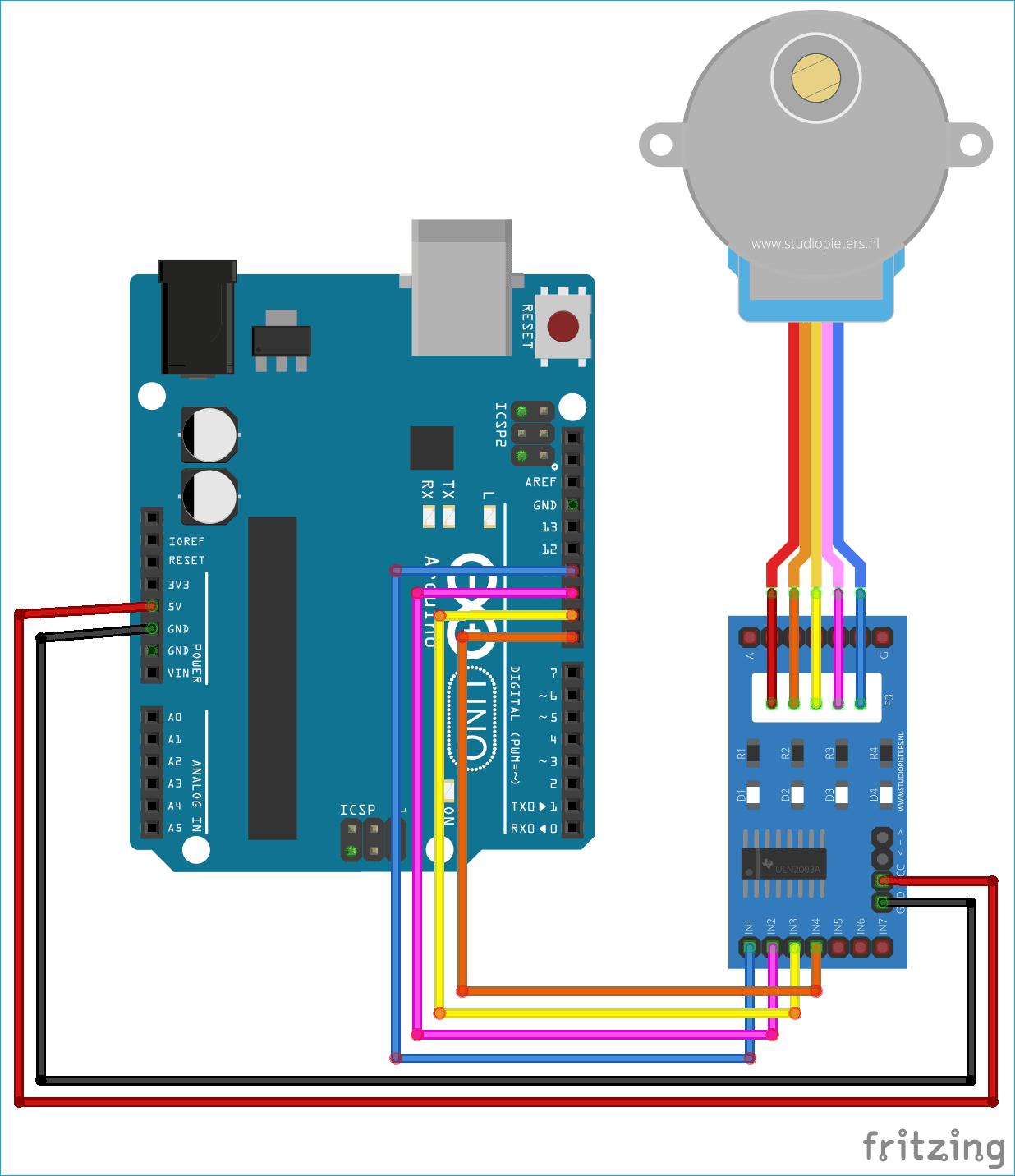 Схема проекта для управления шаговым двигателем с помощью MATLAB и Arduino