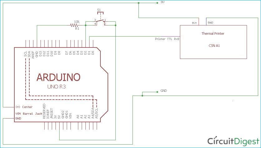 Схема подключения термопринтера к плате Arduino Uno