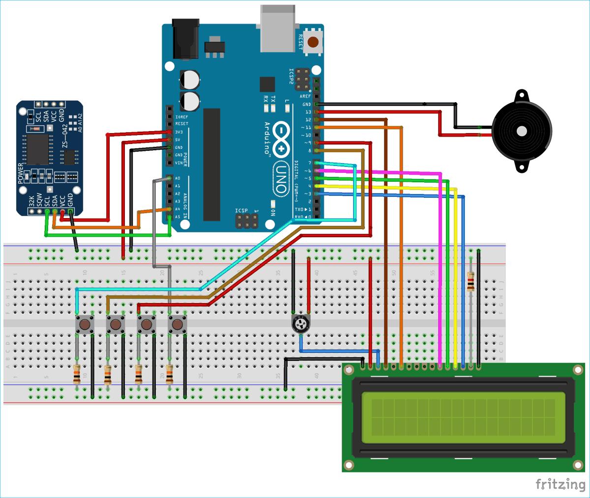 Схема автоматического медицинского напоминателя на основе платы Arduino