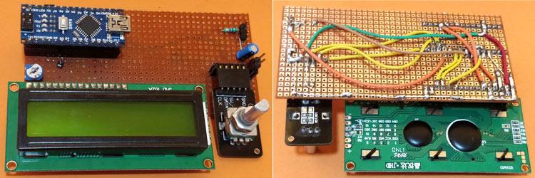 Вид собранного генератора сигналов на основе платы Arduino на перфорированной плате