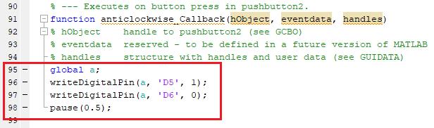 Добавление кода в MATLAB для вращения двигателя против часовой стрелки