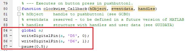 Добавление кода в MATLAB для вращения двигателя по часовой стрелке