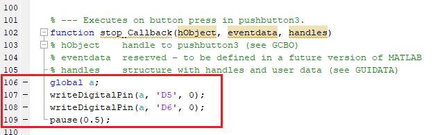 Добавление кода в MATLAB для остановки двигателя