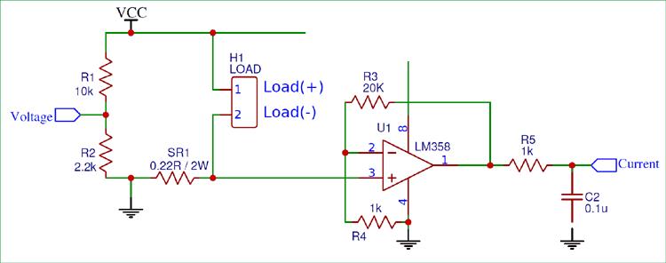 Схема для измерения тока через нагрузку