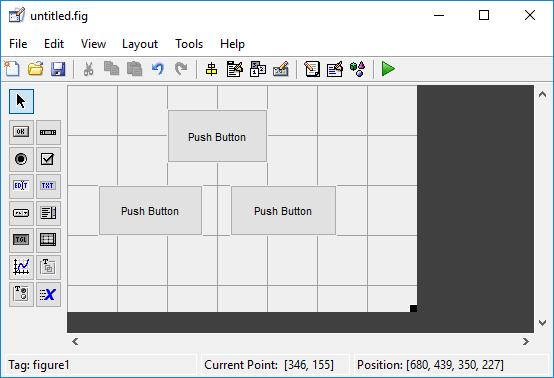 Размещение в графическом редакторе Matlab кнопок для включения, выключения и мигания светодиода
