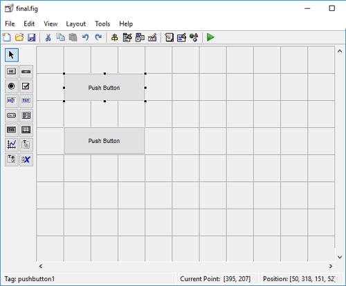 Создание двух кнопок в редакторе графического интерфейса MATLAB
