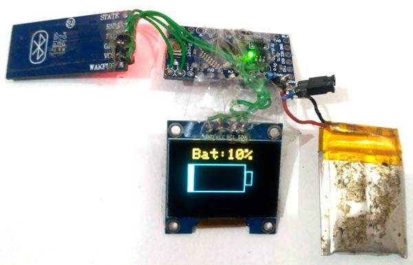 Отображение заряда батареи в нашем проекте умных часов