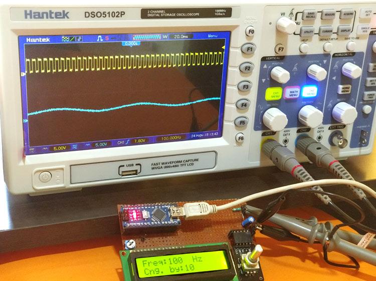 Внешний вид генератора сигналов прямоугольной и синусоидальной формы на Arduino