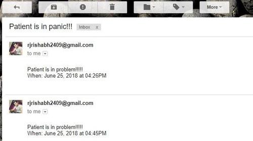 Получение email с текстом о тревожном состоянии пациента