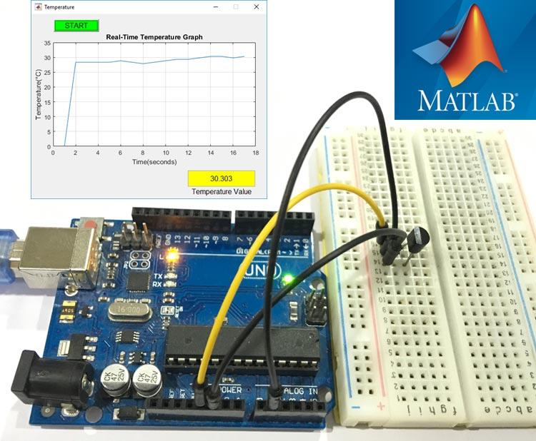 Внешний вид проекта для построения графика температуры с помощью MATLAB и Arduino