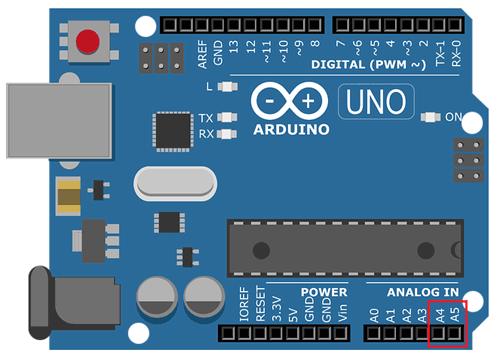 Контакты платы Arduino UNO, которые используются для связи по протоколу I2C