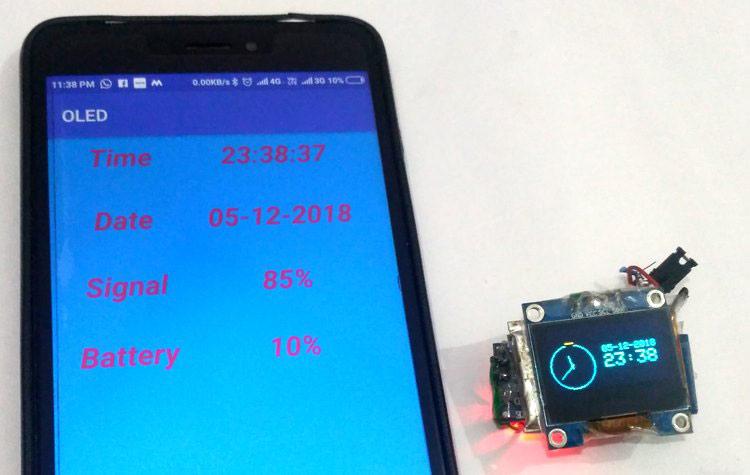 Внешний вид умных часов на основе Arduino, OLED дисплея и смартфона