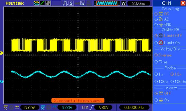 Вид сформированной в нашем генераторе синусоидальной волны