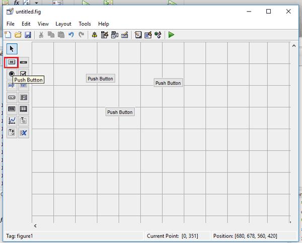 Размещение 3-х кнопок на рабочем редактора графического интерфейса