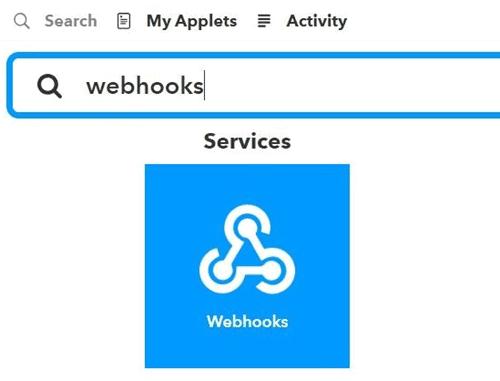 Поиск Webhooks в сервисе IFTTT