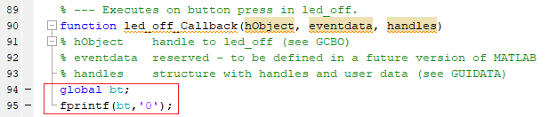 """Код программы для передачи """"0"""" с помощью Bluetooth"""