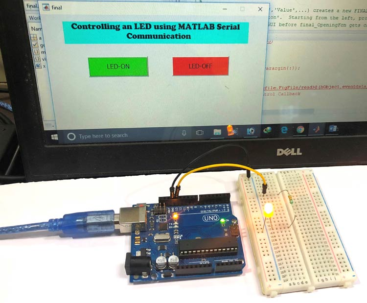 Внешний вид проекта для осуществления последовательной связи между MATLAB и Arduino