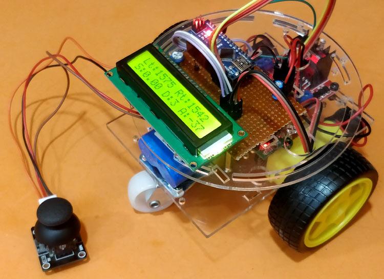 Внешний вид проекта для измерения скорости, пройденного пути и угла с помощью Arduino и датчика LM393