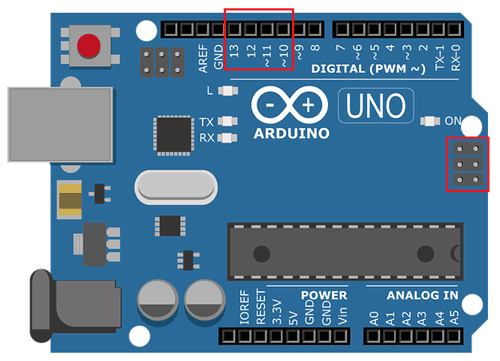 Контакты SPI в плате Arduino Uno