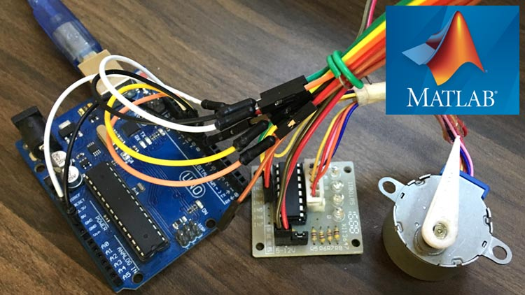 Внешний вид проекта для управления шаговым двигателем с помощью MATLAB и Arduino