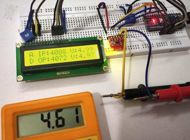 Подключение мультиметра для проверки работы проекта